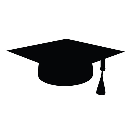 A black and white silhouette of a graduation cap Иллюстрация