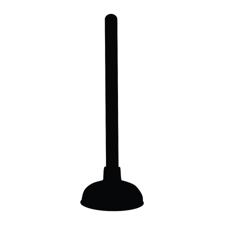 A black and white silhouette of a plunger