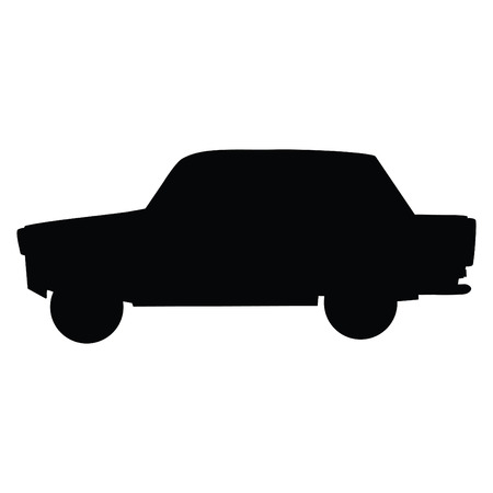 A black and white silhouette of a car Illustration