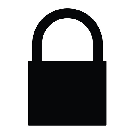 A black and white silhouette of a closed padlock