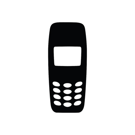 A black and white silhouette of an old sturdy phone