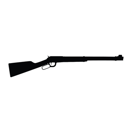 A black and white silhouette of a rifle
