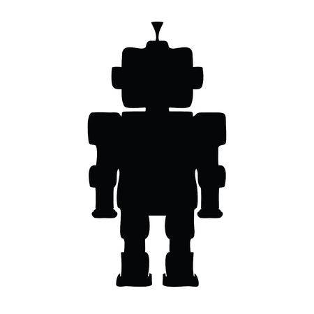 A black and white silhouette of a toy robot