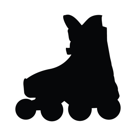 rollerblade: A black and white silhouette of a rollarblade