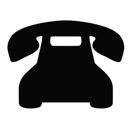 A black and white silhouette of a rotary phone