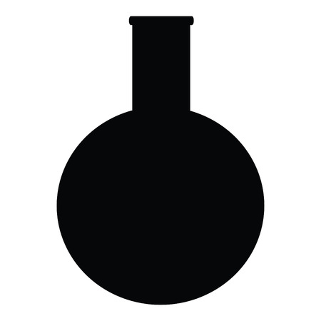 A black and white silhouette of a round-bottom flask
