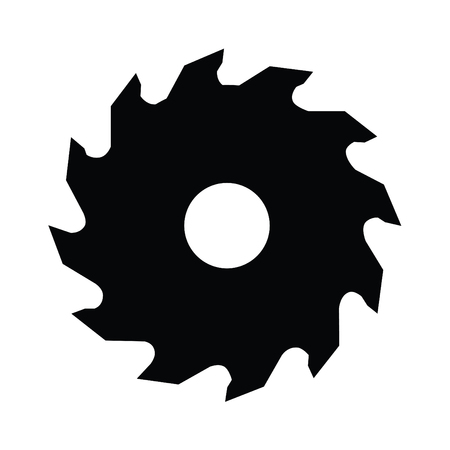 A black and white silhouette of a saw blade
