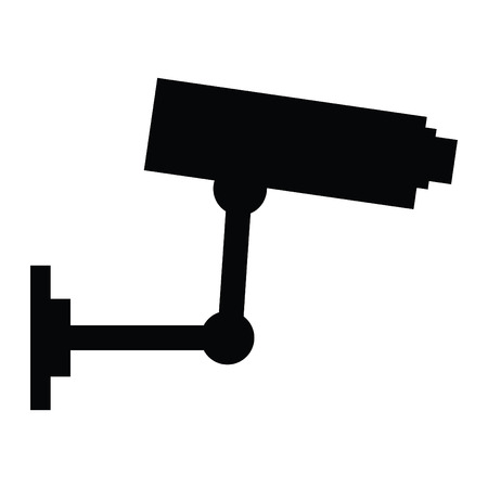 A black and white silhouette of a security camera