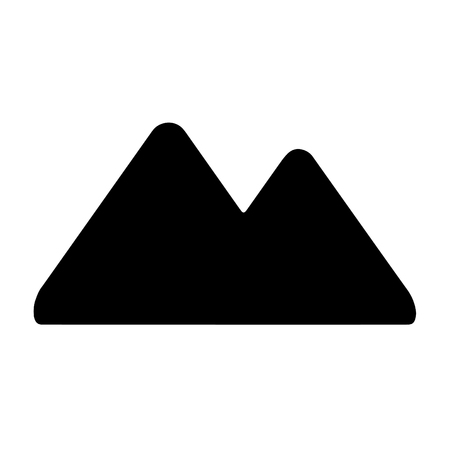 A black and white silhouette of a simplified double peak mountain