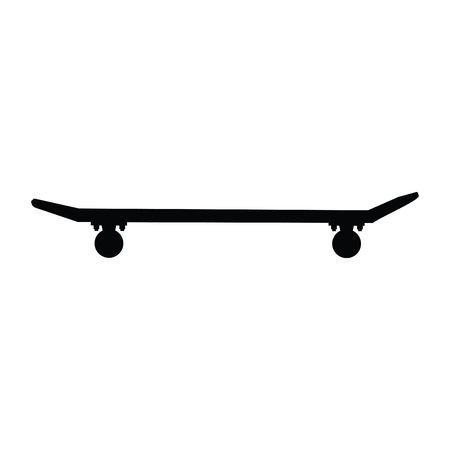 A black and white silhouette of a skateboard Çizim