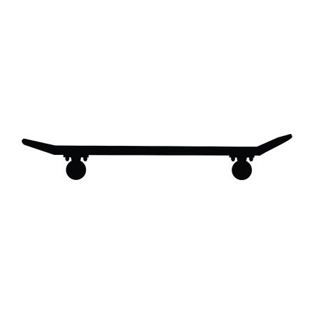A black and white silhouette of a skateboard Illusztráció
