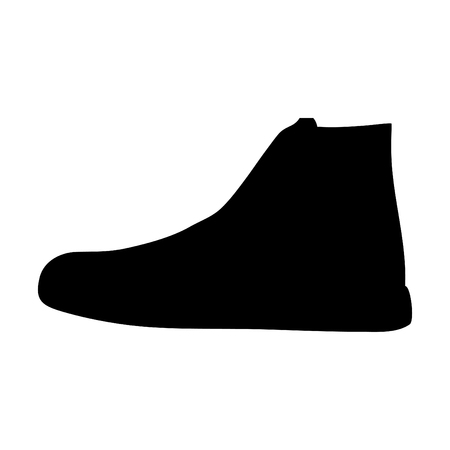 A black and white silhouette of a sneaker vector illustration.