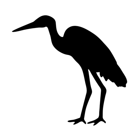 A black and white silhouette of a stork