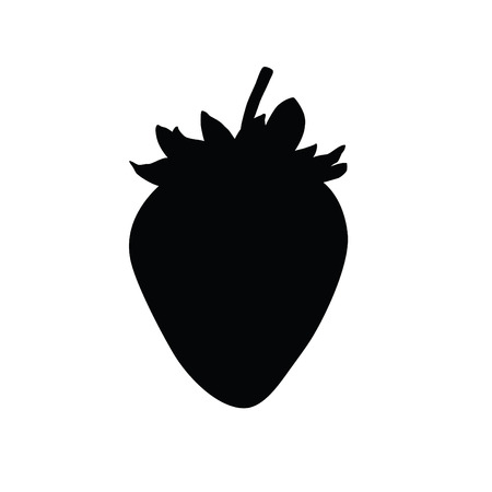 A black and white silhouette of strawberry Illustration