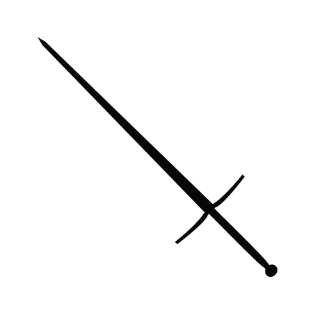 A black and white silhouette of a sword Illustration