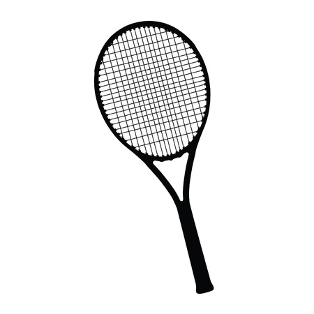 A black and white silhouette of a tennis racket