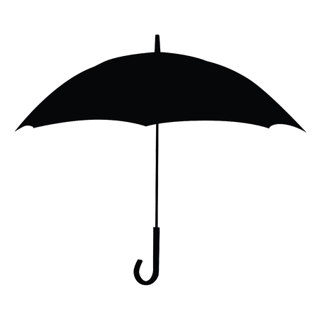 A black and white silhouette of an umbrella