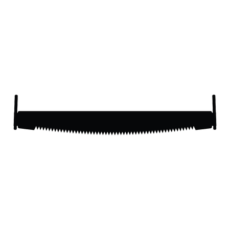 A black and white silhouette of a crosscut saw Illustration