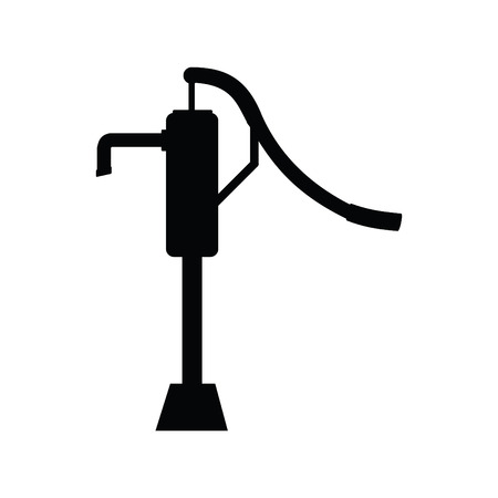 A black and white silhouette of an old fashioned water pump