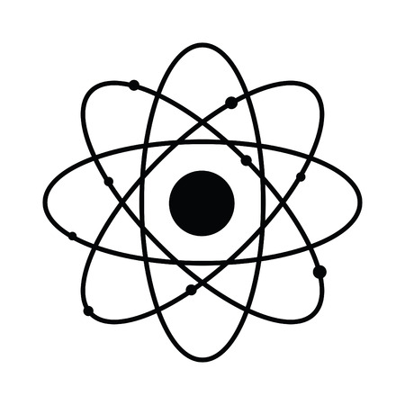 A black and white silhouette of an atom Иллюстрация