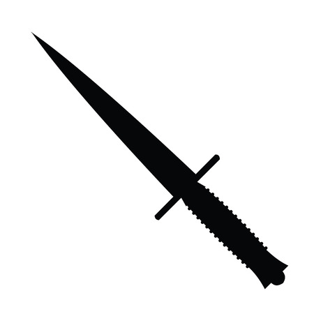 A black and white silhouette of a combat knife