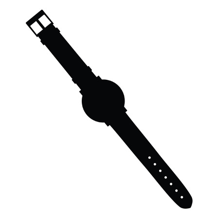 A black and white silhouette of a watch