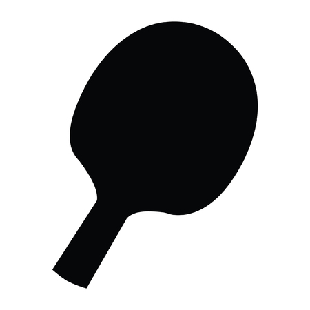 A black and white silhouette of a table tennis paddle