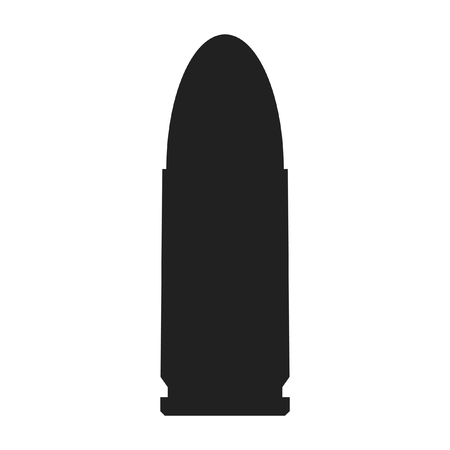 A black and white silhouette of a bullet