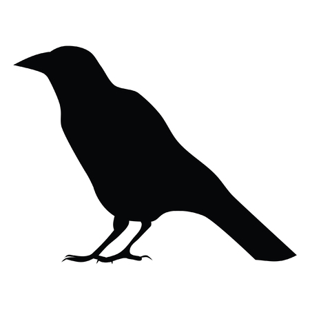 A black and white silhouette of a crow