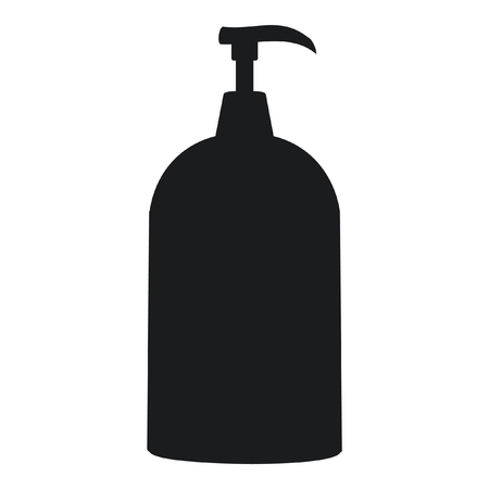 A black and white silhouette of a handsoap dispenser