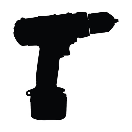 A black and white silhouette of a power drill