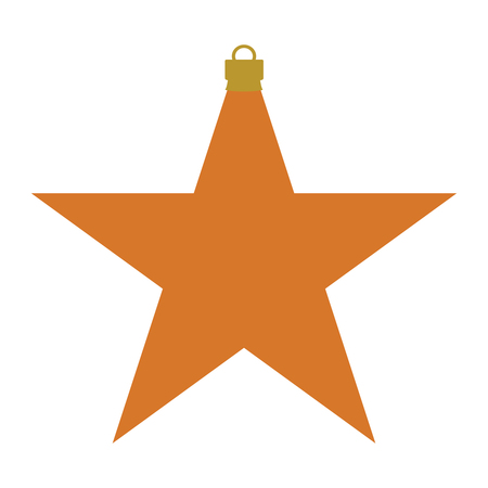 A orange and gold star-shaped Christmas bauble Illustration