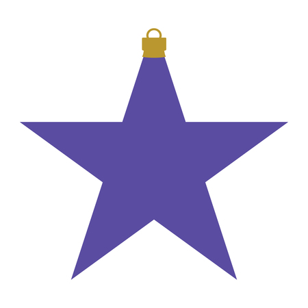 A purple and gold star-shaped Christmas bauble