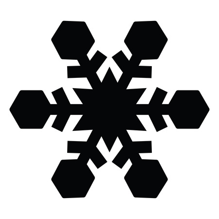 A black and white silhouette of a snowflake
