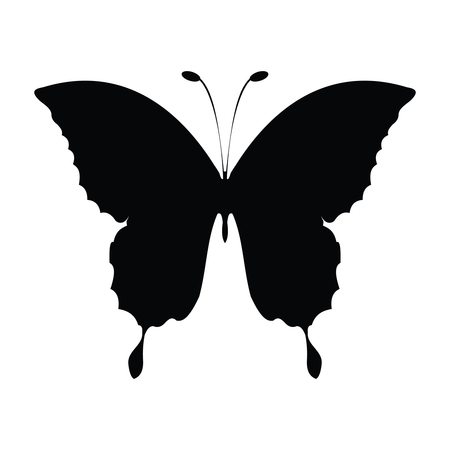 A black and white silhouette of a butterfly