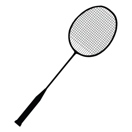 A black and white silhouette of a badminton racket