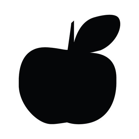 A black and white vector silhouette of an apple