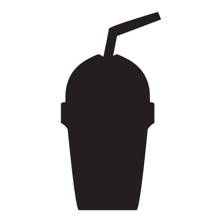 A black and white silhouette of a disposable coffee cup with a straw Иллюстрация
