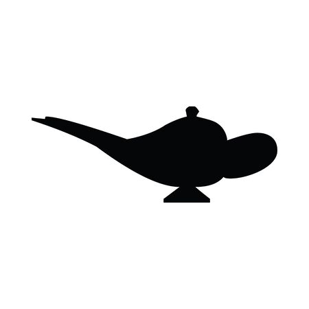 A black and white silhouette vector of a genie lamp