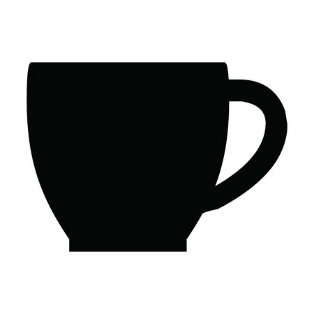 A black and white silhouette of a coffee cup