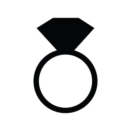 A black and white vector silhouette of a diamond ring Иллюстрация