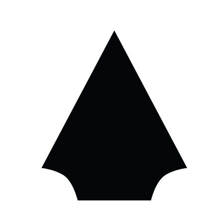 A black and white vector silhouette of an arrowhead