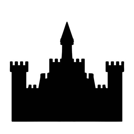 A black and white vector silhouette of a castle