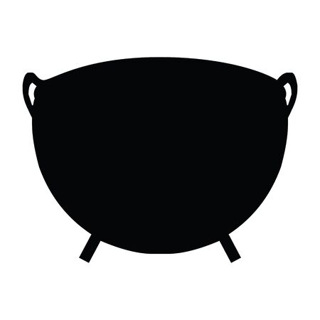 A black and white vector silhouette of a cauldron