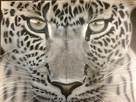 canvas: Airbrushed Leopard painted on 18X24 inch on canvas by Jamie Douglas