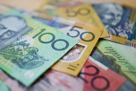 A pile of Australian currency with a shallow depth of field Banco de Imagens