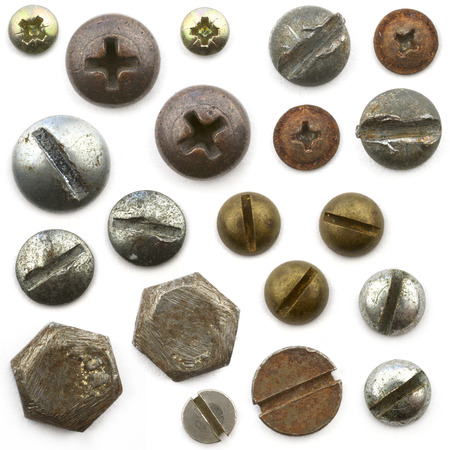 bolts: The heads of nuts,bolts and screws Stock Photo
