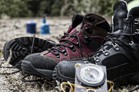 tramping: Hiking boots in the South Island, New Zealand