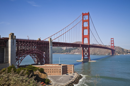 golden: The famous Golden Gate Bridge, San Francisco, California, U.S.A Stock Photo