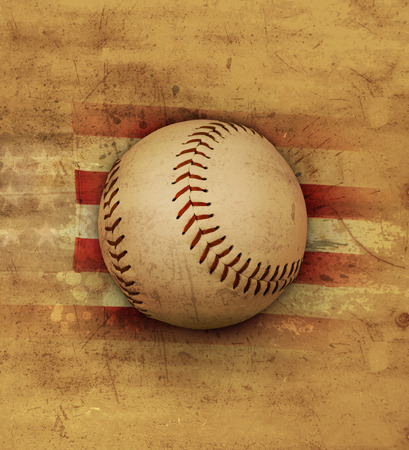 faded: Baseball on an old faded American flag